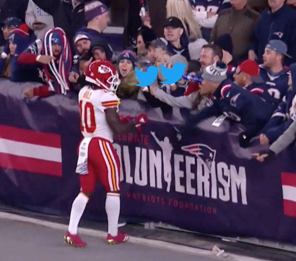 The New Englanders Who Threw Beer On Tyreek Hill When He Was Trying To Shake Their Hands To Congratulate Them On The Great Game Should Be Sent To Jail For Life And The Pats Should Be Forced to Forfeit The Season