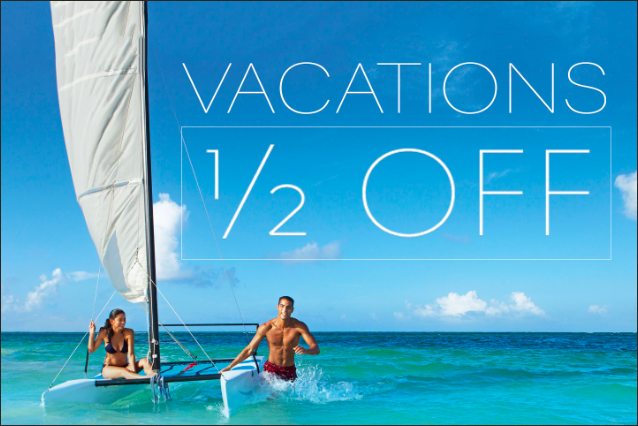 Secrets Resorts and Spas are offering HALF OFF your trip PLUS $400 in resort coupons!