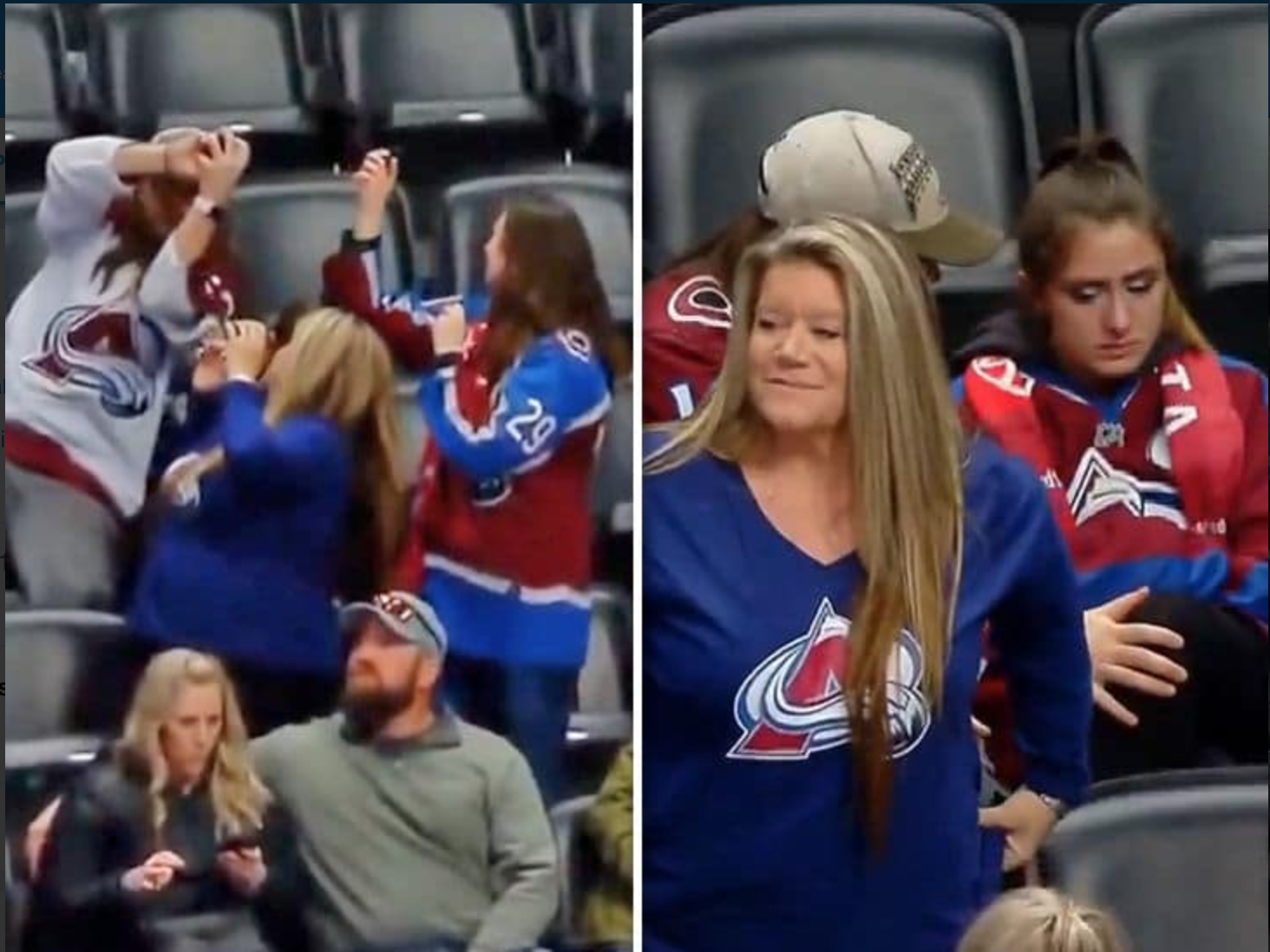 This Avalanche Fan Is In For An Avalanche Of Heartache After Elbowing His Girlfriend In The Face For A Puck And Then Giving It Away
