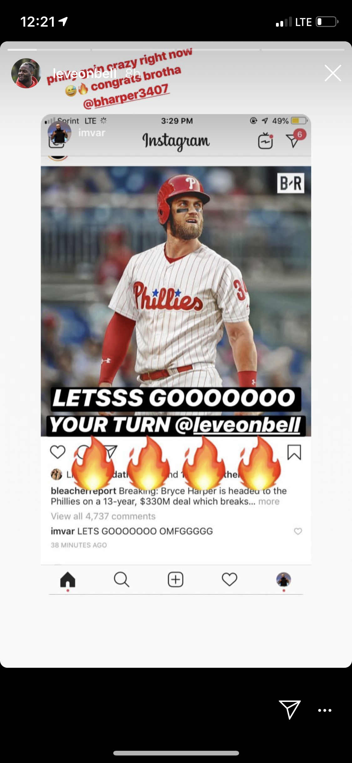 Bryce Harper and Le'Veon Bell DMing On Instagram About Playing In Philly?