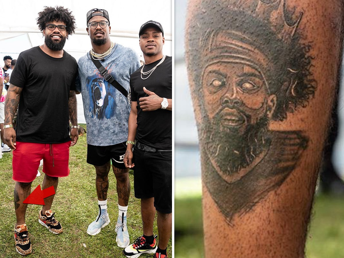 Ezekiel Elliott Got A Portrait Tattoo Of Himself And It's Not Even The Most Shocking Part Of This Photo