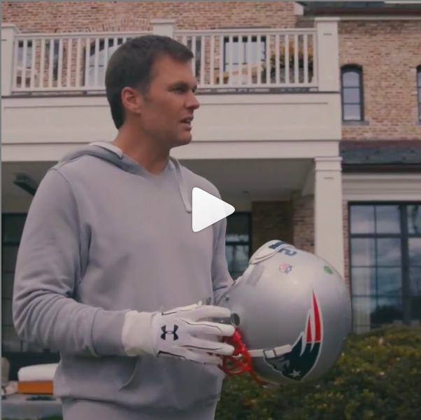 VIDEO: Tom Brady Empties Confetti From His Helmet Before Beginning His 2019 Training