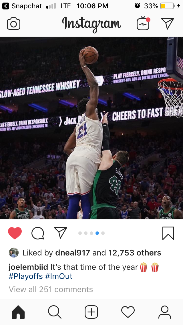 Embiid Says #ImOut in Insta Post