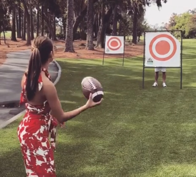 Tim Tebow's Fiance Demi-Leigh Nel -Peters Throws A Football Better Than Him