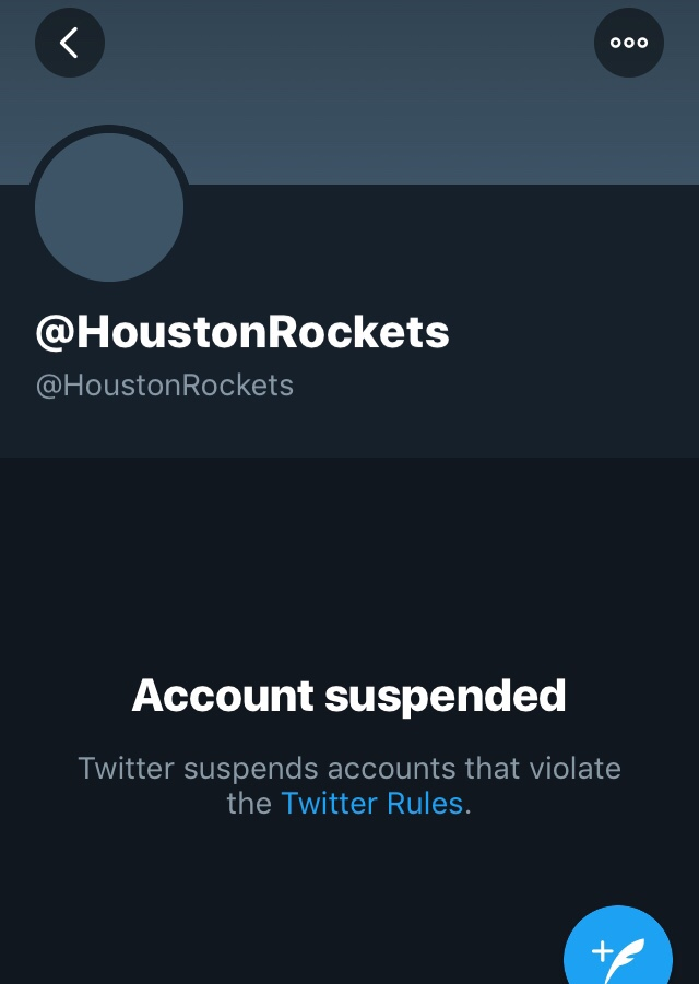 Rockets Twitter Suspended