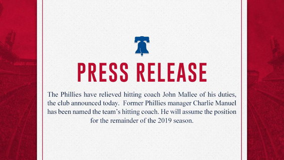 John Mallee Out, Charlie Manuel In: The Phillies Finally Fire Someone