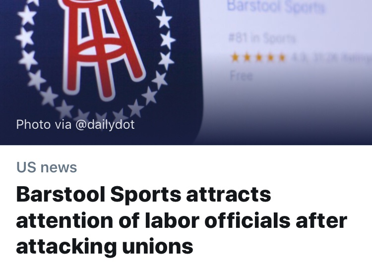Barstool's Uniongate Is Having An Effect on Branded, So I Think It's Time I Fire Someone