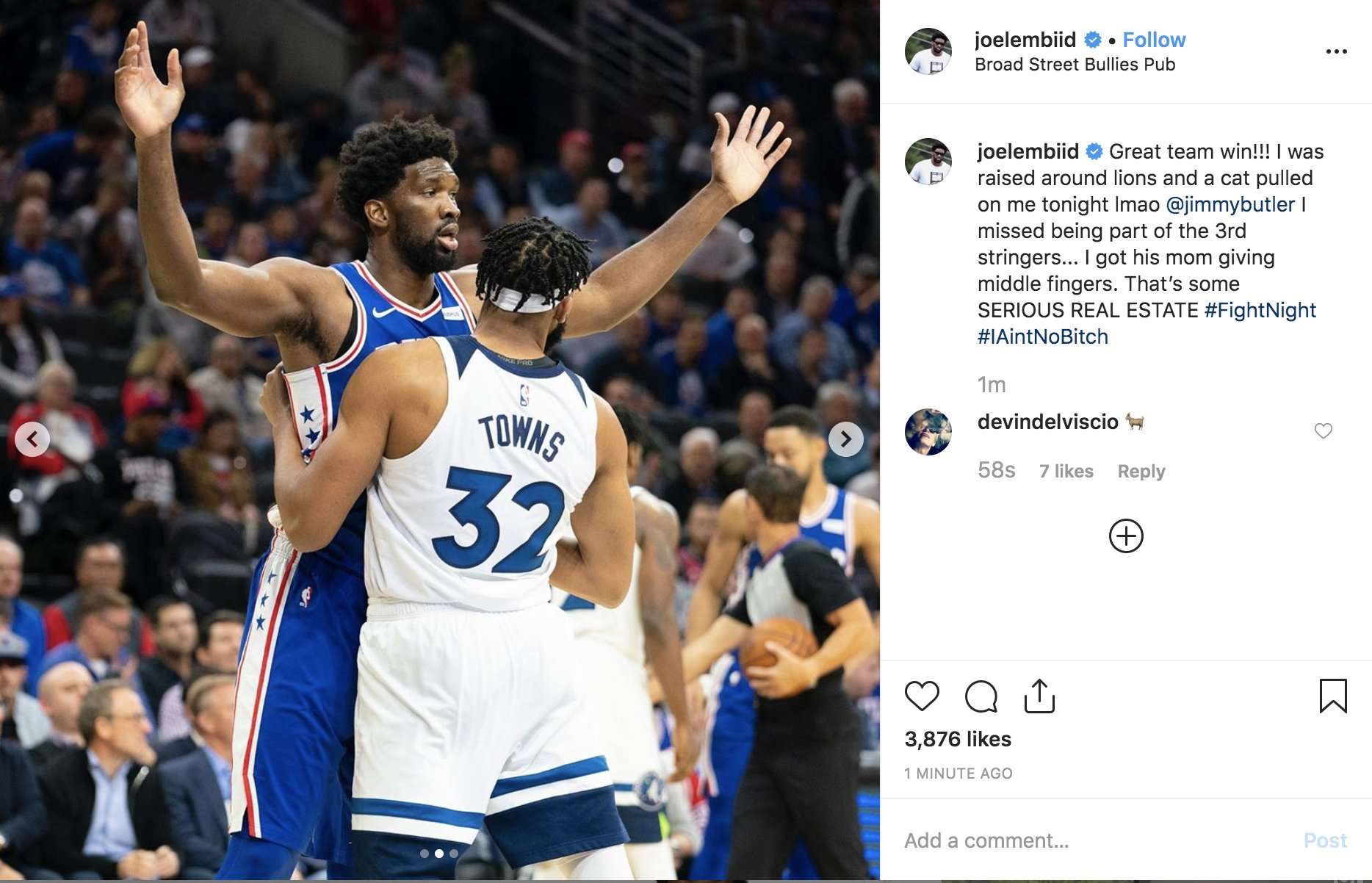 UPDATEx2: Joel Embiid Ends The Feud UPDATE: Karl Anthony Towns Responds – Joel Embiid Now Has Jimmy Butler Involved With A Fantastic Instagram Troll