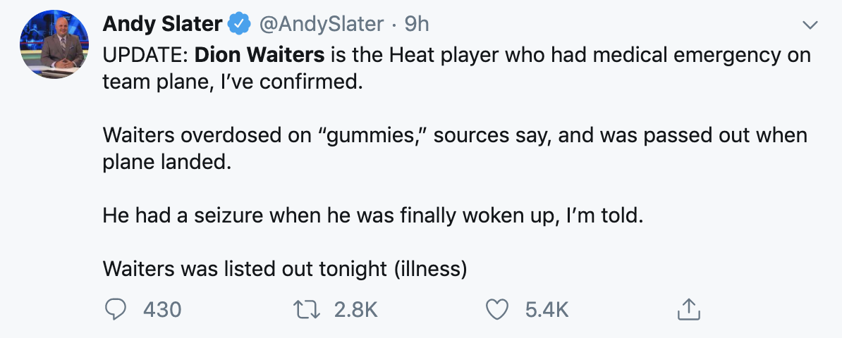 Dion Waiters OD'd On Weed Gummies On The Heat Plane