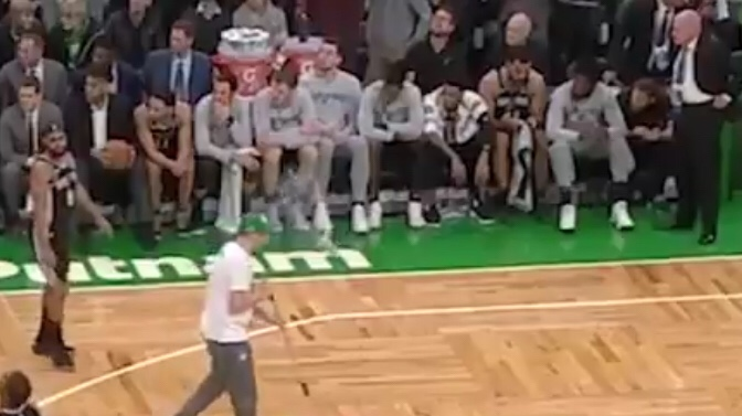 Scumbag Celtics Fans Throw A Beer At Spurs Players
