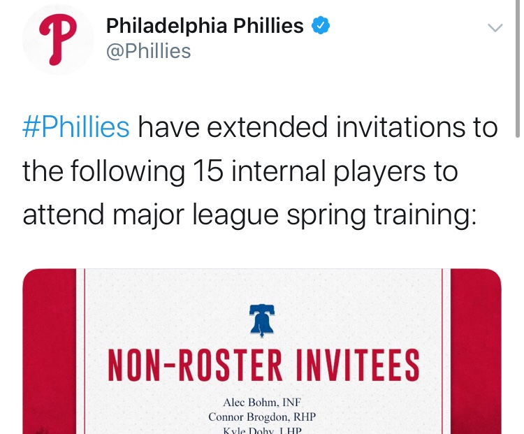 Phillies Released The Names Of The 15 Minor Leaguers They Are Inviting To Spring Training