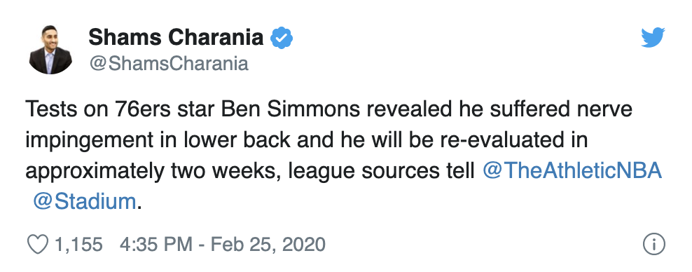 Ben Simmons To Be Re-Evaluated In Two Weeks: The 'Ol Embiid Special Is Back!