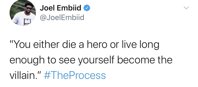 Joel Embiid Checking In Just To Let You Know He's Watching The Dark Knight Tonight