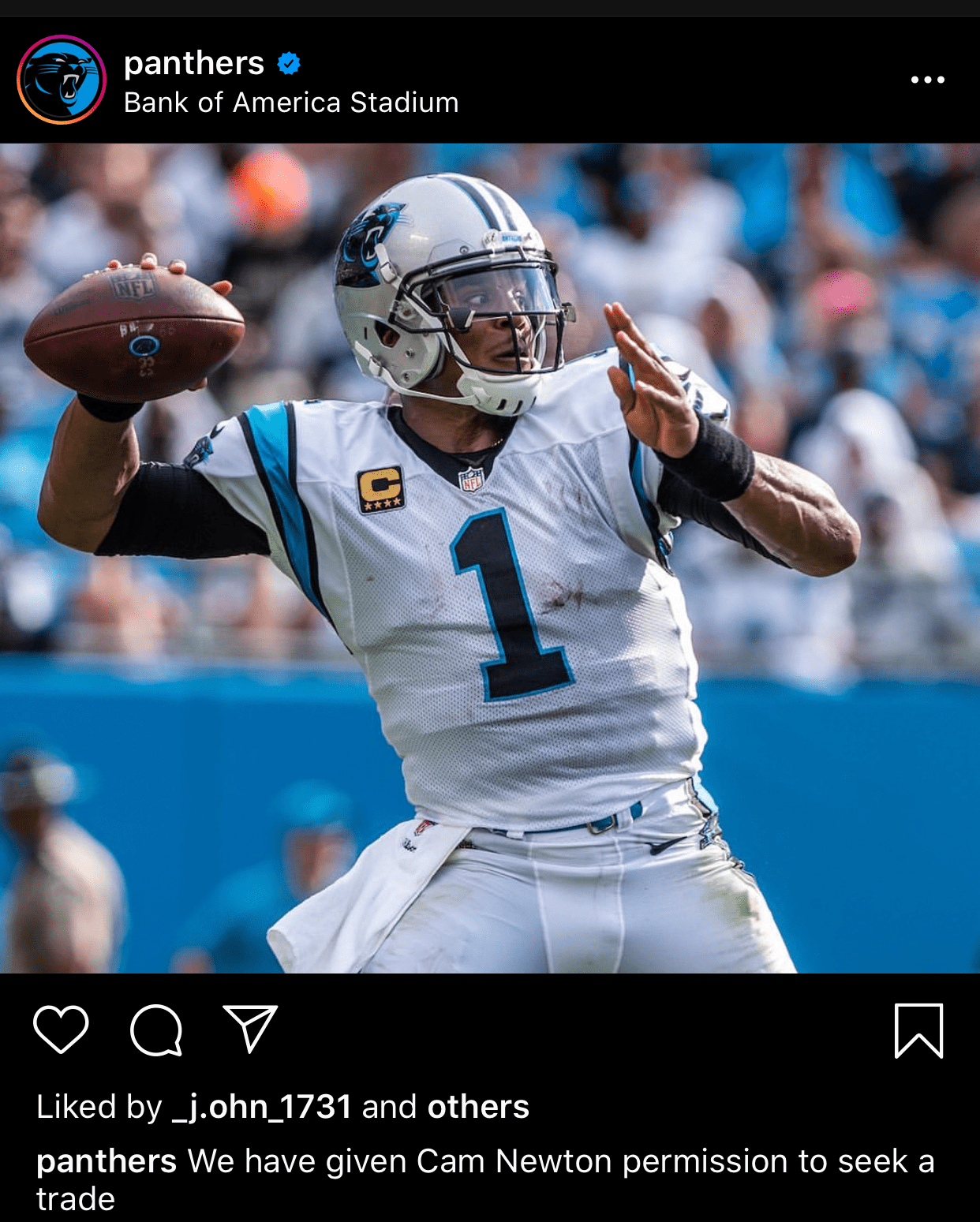 Cam Newton Attacks the Panthers Via Instagram!