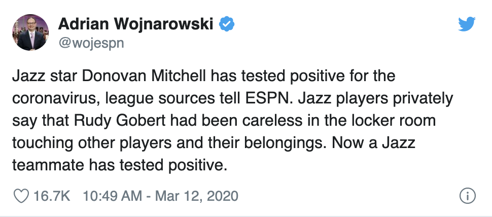 Donovan Mitchell Has Tested Positive For Coronavirus It Turns Out Rudy Gobert Was Touching Everyone's Stuff…No Seriously