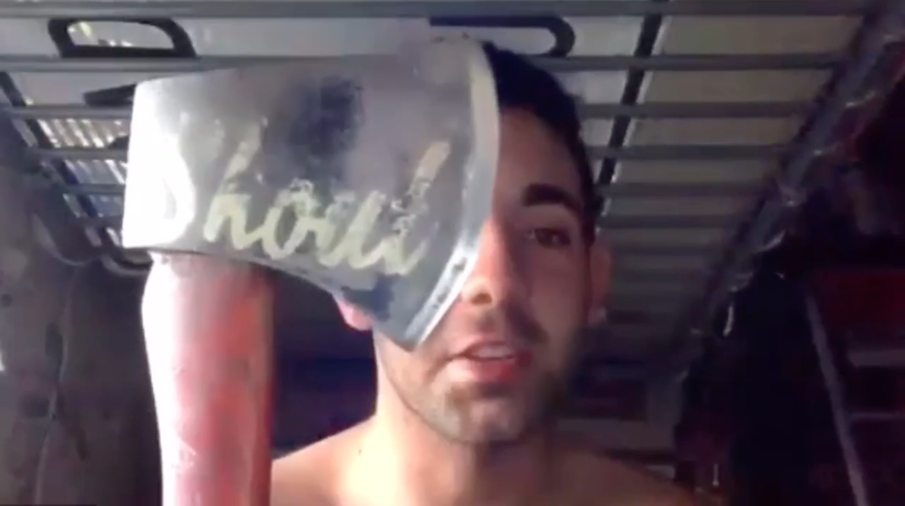 Zoom Chronicles: Guy Sharpens a Hatchet Shirtless