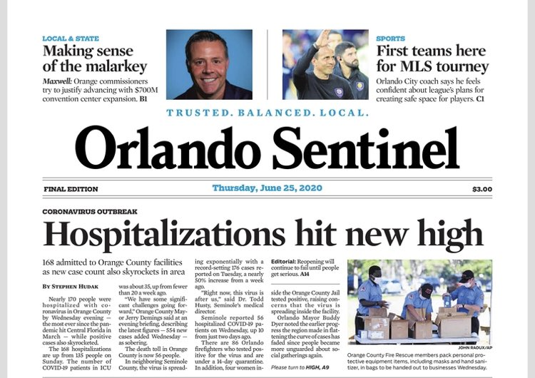 Should We Be Concerned With the Orlando Sentinels Front Page Today?