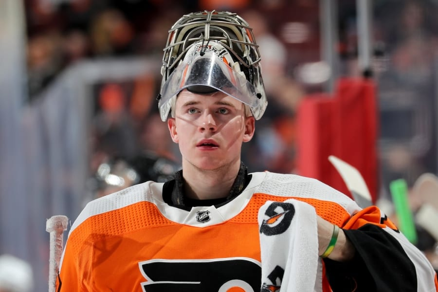 Carter Hart Leaves Practice