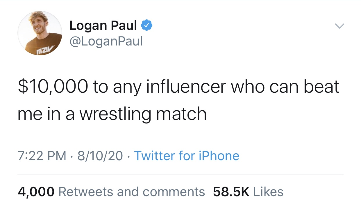 Logan Paul throws down $10K for anyone who can beat him in a wrestling match and he may be regretting his decision.