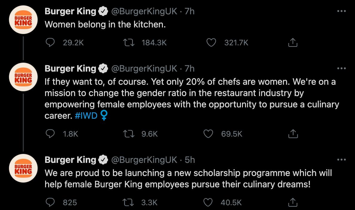 Burger King Tweeting That Women Belong In The Kitchen