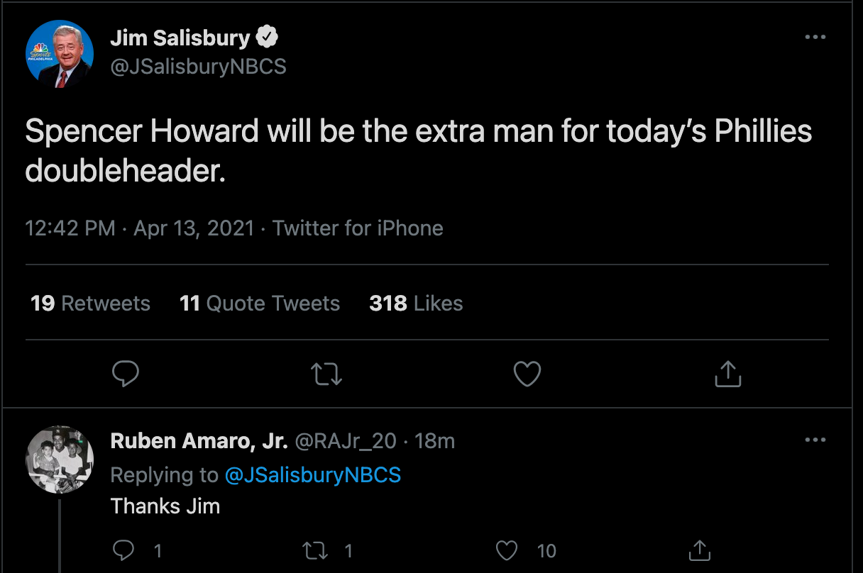 Jim Salisbury (JSalisburyNBCS) Just Killed Ruben Amaro Jr. (@RAJr_20)