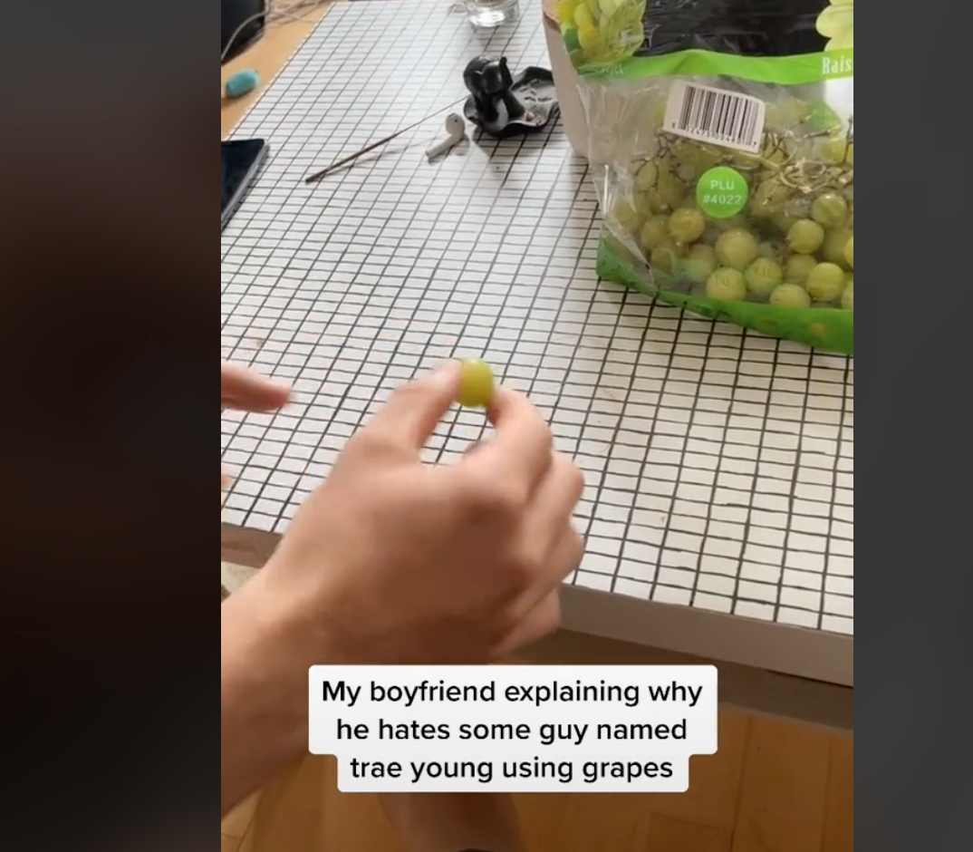 Guy Using Grapes To Explain To His Girlfriend Why He Hates Trae Young