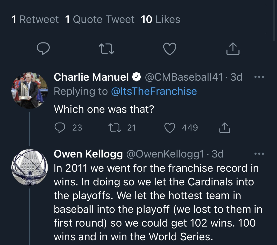 ICYMI: Charlie Manuel Dunked All Over A Hater Last Week