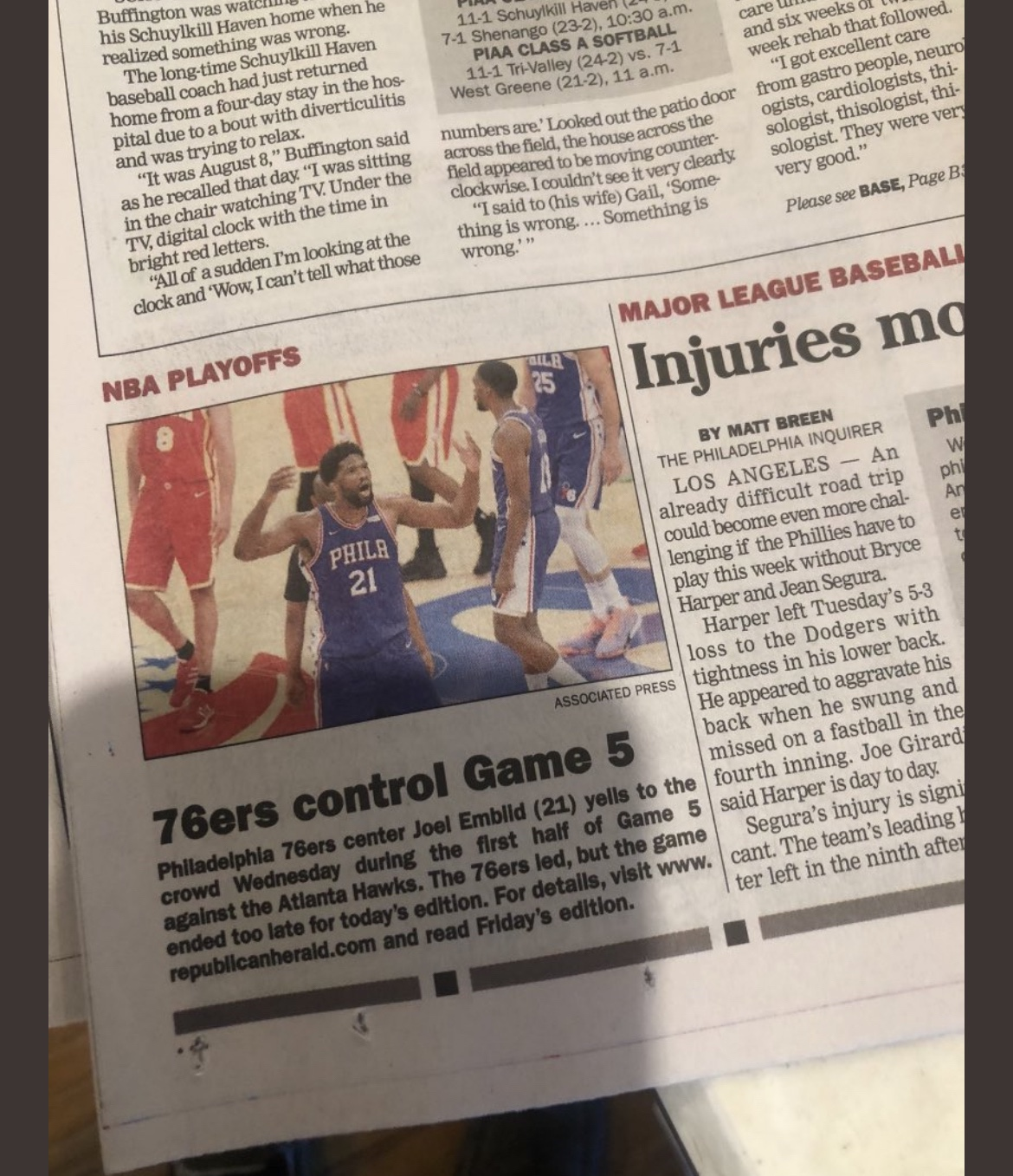 Republican Herald @repherald Too Old To Care About The End Of The Sixers Game