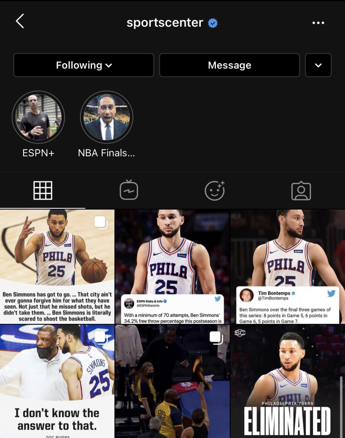 SportsCenter's Instagram Is Currently Just A Ben Simmons Smear Campaign